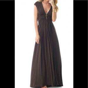 Sky Brand Chocolate Maxi Jersey Cap Sleeve Dress